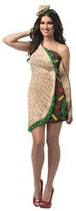 Taco Dress Adult Womens Costume - 321574 | trendyhalloween.com #halloweencostumes #foodcostumes #funnycostumes #taco #tacoshell #rastaimposta #womenscostumes
