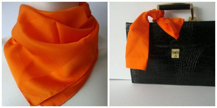 Burnt orange vintage scarf tie headband handbag accessory Goldfish bright color satin scarf square handbags retro dress accessory by Janglesdesigns on Etsy