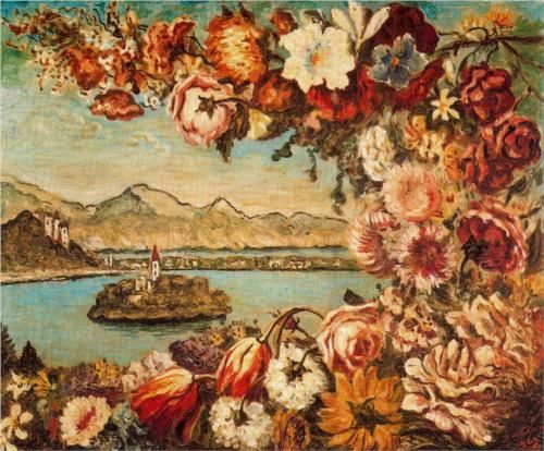 Island and flower garland - Giorgio de Chirico