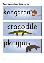 Printable Australian animals topic word cards (SB2331) - SparkleBox