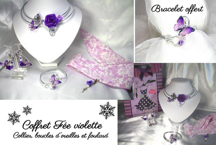 Coffret fée violette noël perles cristal