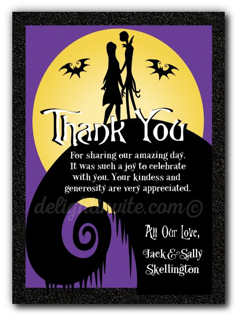 Nightmare Before Christmas Wedding Thank You Cards, Expertly Printed On  Gorgeous Metallic Shimmer Paper And