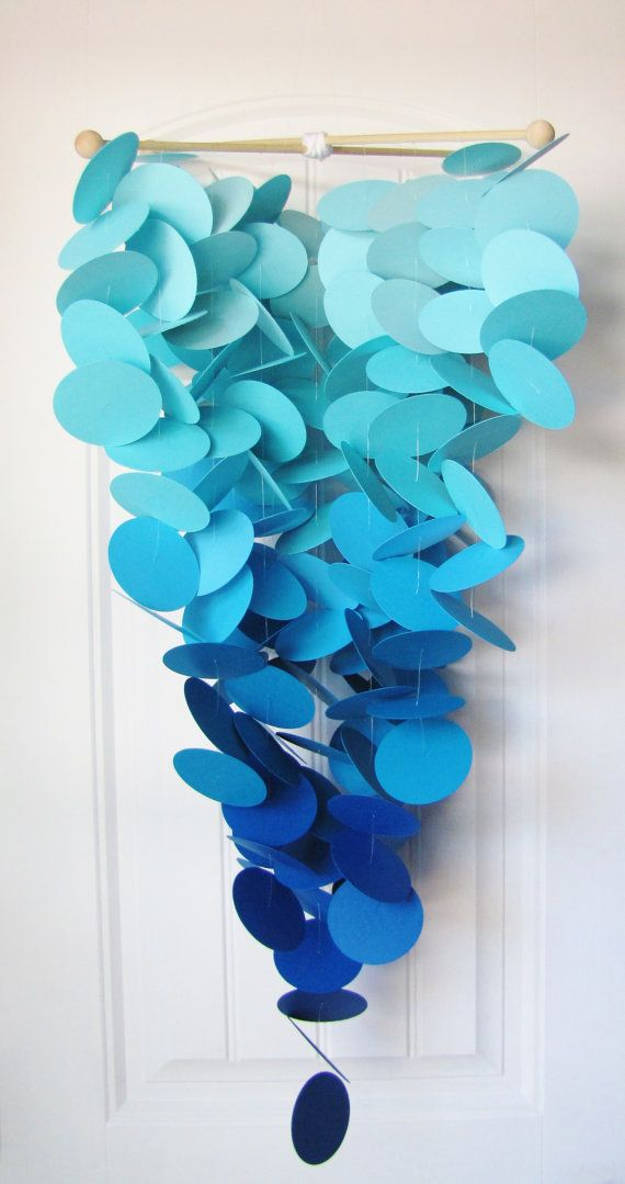 Large Baby Mobile in Ocean Depths - Ombre Blue Crib Mobile