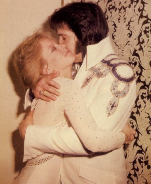 In his in his private dressing room connected to the backstage area of the Hilton Showroom with Sheila Ryan in Las Vegas sometime in March 1975    From Guralnick's & Jorgensen's 'Day By Day' book