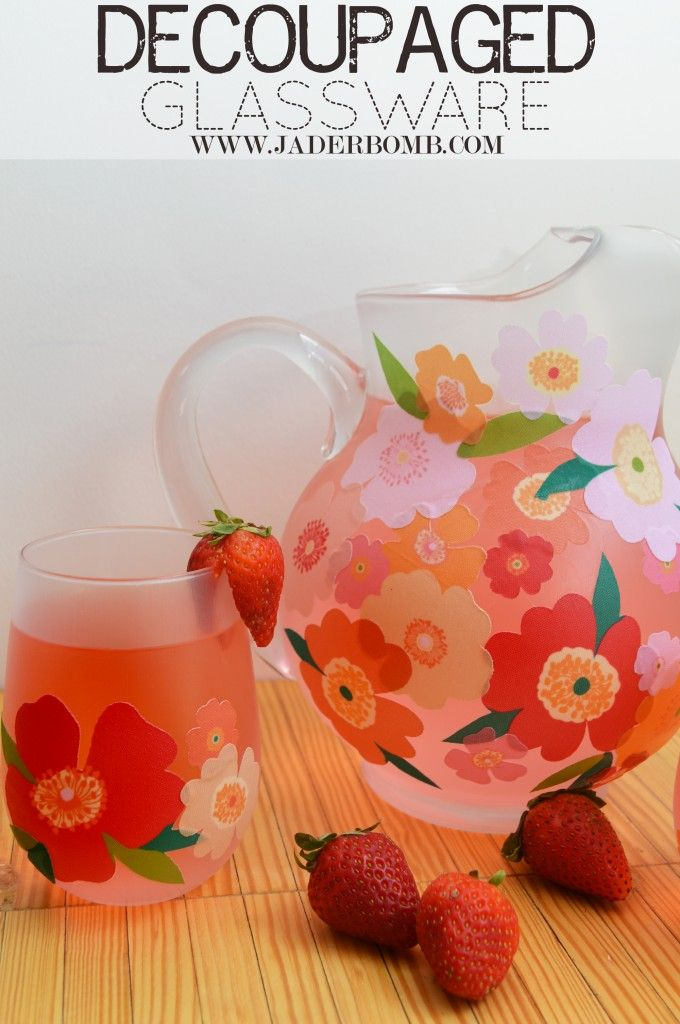 How to decoupage on glass with @Martha Stewart decoupage.  www.JADERBOMB.com  #glass #marthadecoupage