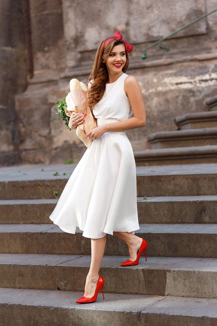 bias cut skirt silk top white bride minimalist italy wedding summer whites holiday volume dress