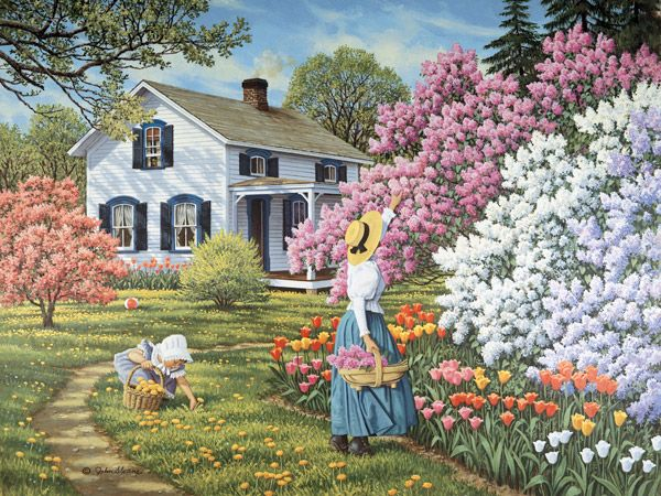 To Each Her Own by John Sloane ~ spring blossoming shrubs ~ tulips ~ mother & daughter picking flowers
