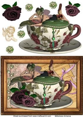 Twinkle 3 on Craftsuprint designed by Mishara Armenia - Gorgeous fairy girl in a cup quick card - Now available for download!
