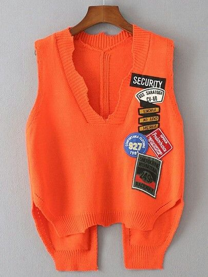 17.95 patched bright orange vest wear with chamberey
