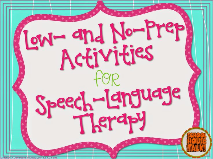 Schoolhouse Talk!: No-Prep Speech Therapy Activities