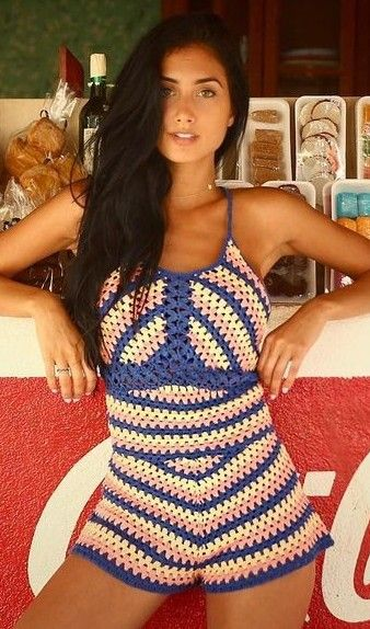Multi Crochet Romper @roressclothes closet ideas #women fashion outfit #clothing style apparel