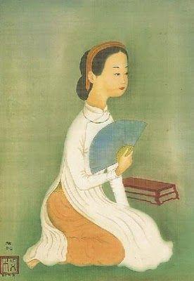 Painting on Silk by Vietnamese Artist Mai Trung Thu