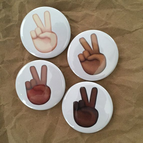 Peace sign emoji buttons by HypotheticalButtonCo on Etsy
