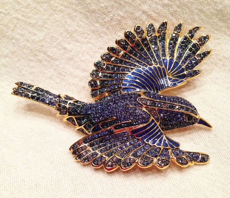 Joan Rivers LIMITED EDITION BLUEBIRD OF HAPPINESS LARGE PIN BROOCH #495/1500 #JoanRivers