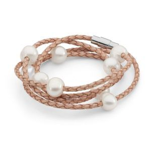 White FW Pearl & Cream Leather Bracelet - Shop our jewellery store in Port Fairy - Victoria, Australia.