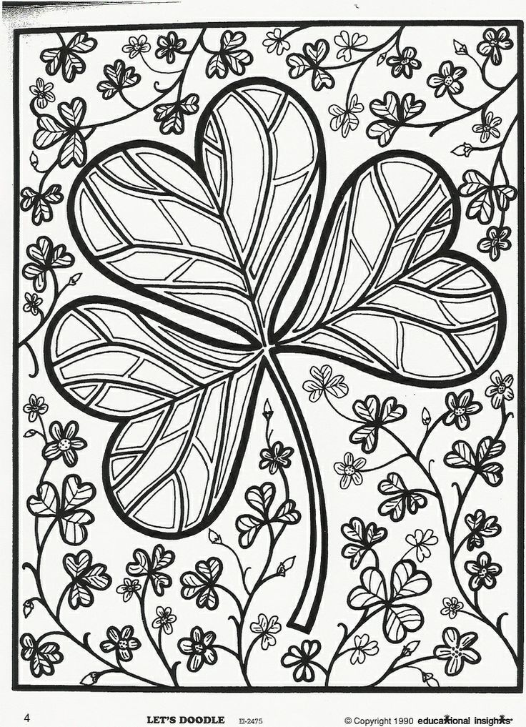 patricks day shamrock coloring page free educational insights printable from lets doodle book - St Patricks Day Coloring Pages