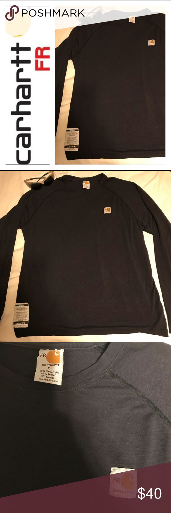 🔥 CARHARTT FR LONG SLEEVE SHIRT 🔥 🔥 CARHARTT FIRE RESISTANCE LONG SLEEVE  🔥 WORE ONLY ONES  🔥SIZE LARGE FITTED .. PERFECT FOR WORKWEAR 🔥NAVY DARK BLUE 🔥BUNDLE & SAVE Carhartt Shirts Tees - Long Sleeve