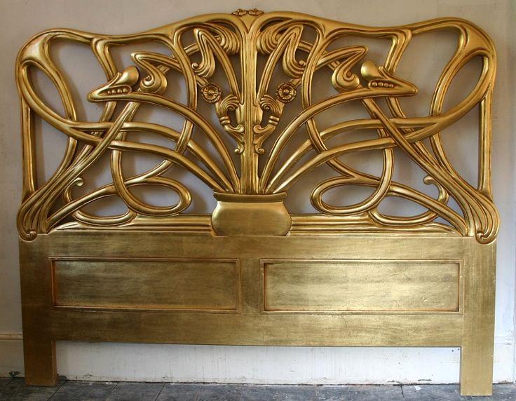 Chéri Art Nouveau bed Michelle Pfeiffer goud mahonie hoofdeinde headboard