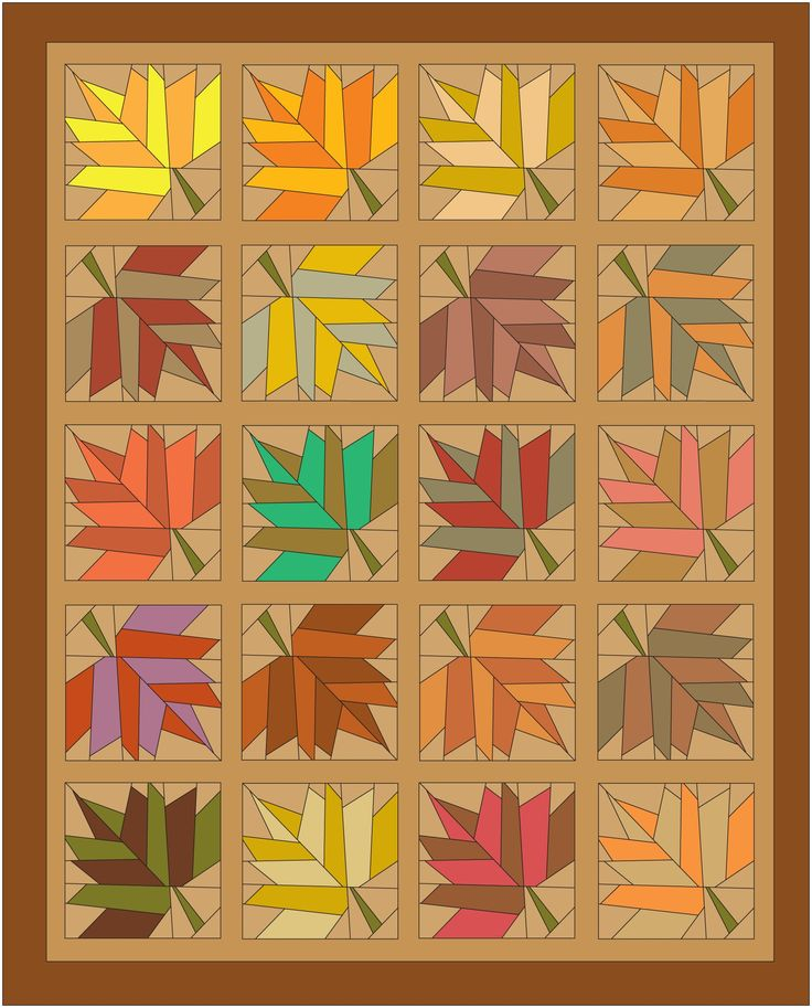 Maple Fall Paper Pieced Quilt Pattern Trees And Leaves
