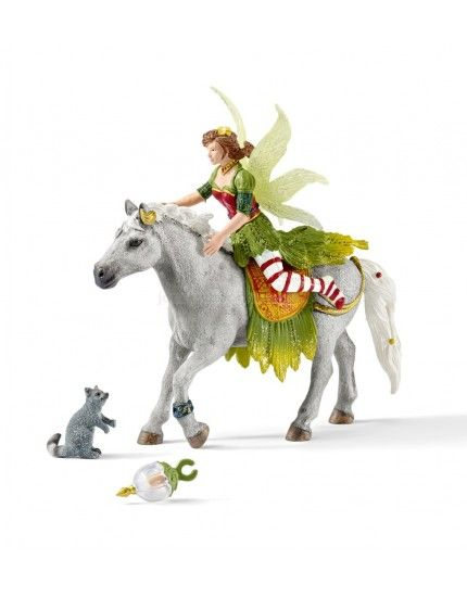 Marween in festive clothes, riding