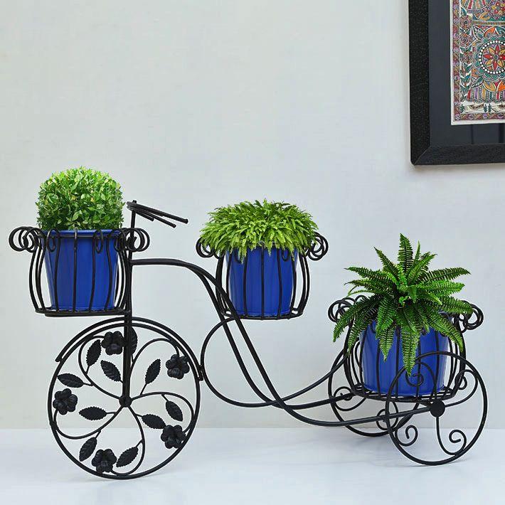 Edvin rickshaw with 3 planters #planters #plant #garden #flowers #shazliving #pinit #pinterest #leaves #gardening Shop at: https://www.shazliving.com/
