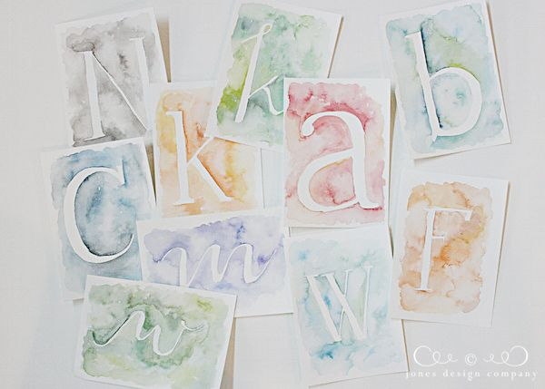 Jones Design Company Wall Stencil : Watercolor letters art nerd