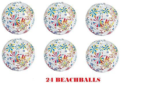 24 Fireworks PATRIOTIC Beach Balls  Approx 11  Pool Decor Beach Favor Water Play Fun Outdoor Birthday Fourth July Wedding Celebration  4TH Independence Day >>> Want additional info? Click on the image.