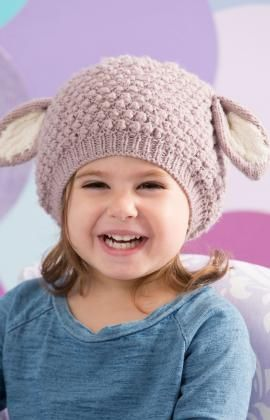 Cosy Lamb Hat Free #Knitting Pattern from Red Heart Yarns