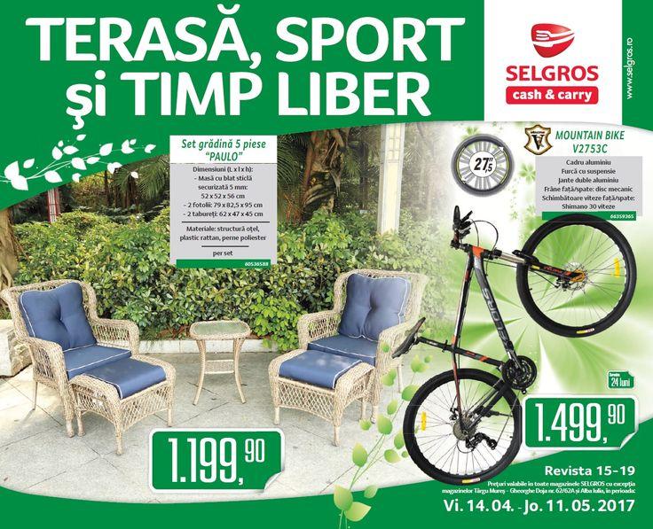 "Catalog Selgros Tersa & Sport Aprilie - Mai 2017! Oferte si recomandari: Hamac cu copertina ""SUMMER"" 240 x 140 x 195 cm 559.90 lei; Saltea gonflabila"