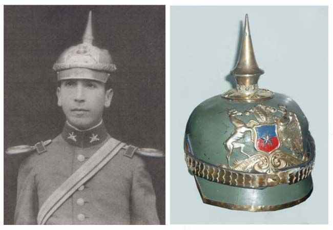 "Colonel J's - Articles -Latin American Second lieutenant of Carabineros de Chile Humberto Reyes Rojas, 1929, picture taken in Tacna, Peru. Picture: ""El Mercurio"" journal. Right: Officer Spike helmet from Carabineros de Chile, National Police since 1927.Carabineros de Chile Museum."