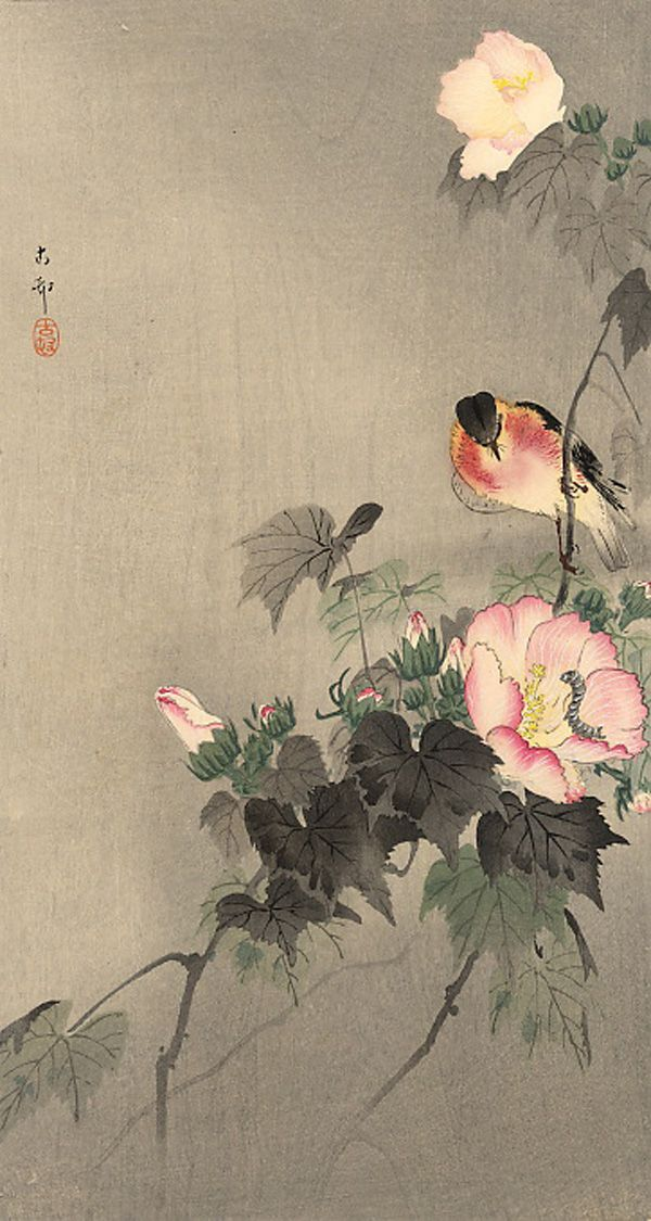 Ohara Koson – Stonechat and blossoming flower
