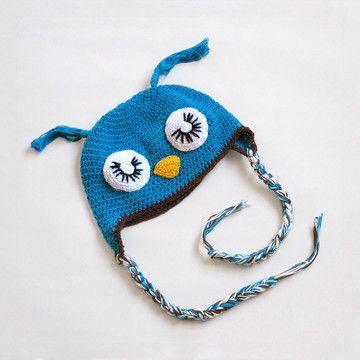 Eyelash Owl Hat Baby Blue  by H. Maude