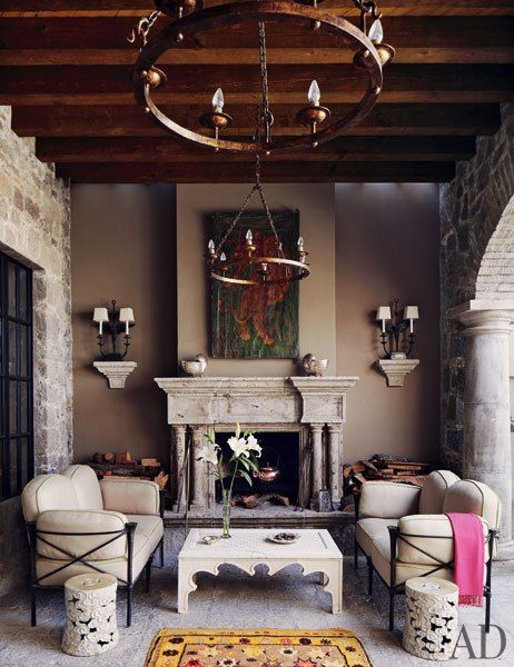 The sala abierta (outdoor living room) adjoins the dining room in Andrew Fisher and Jeffry Weisman's San Miguel de Allende home. : Architectural Digest