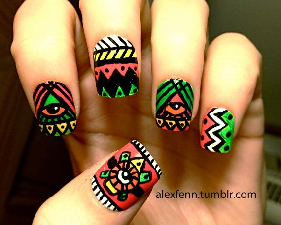 Neon aztec eye fake nails by CompulsiveNails on Etsy, $25.00...wow...I'm not into fancy nails that much...but these are so artsy and friendly and they aren't so long that you have trouble using your hands...