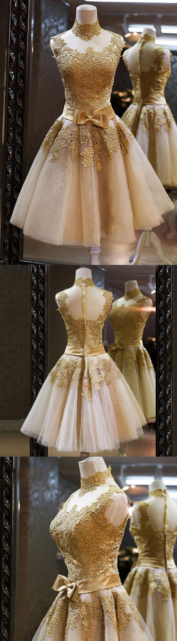 Gold Homecoming Dresses with Lace Applique. We offer homecoming dresses, dresses for teens, freshman homecoming dress, whether you like short or long dresses, whether you prefer vintage or modest, simple or boho, we have all styles! And also we can make the dresses in any color you like: red, black, maroon, purple, blue, green, burgundy, navy, white…Shop your homecoming dress at #junebridals.com now and save up to 70%!