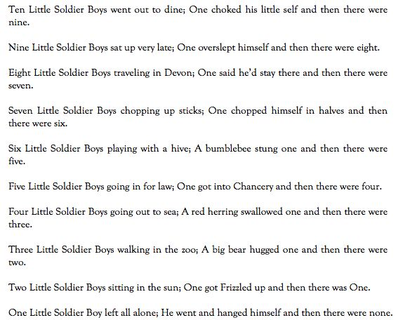 "The poem ""Ten Little Soldier Boys"" serves as a parallel to the story of Richard III in that the contenders for the throne die off until none of the original ones remain. Richard first kills his brother, then the King, and then the Princes, for it would serve as a threat and ""bitter consequence/That Edward [or any contender] still should live ""true noble prince]"" (IV.2.17-8). Even Buckingham is a threat once he shows wavering loyalty. However, all the contenders die, and then there were none."