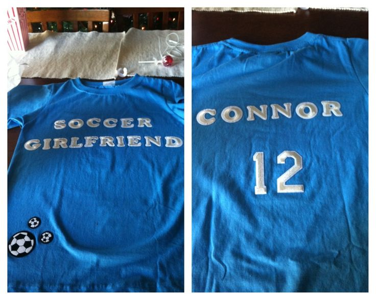 Supporting my boyfriend's soccer team by making a homemade shirt!