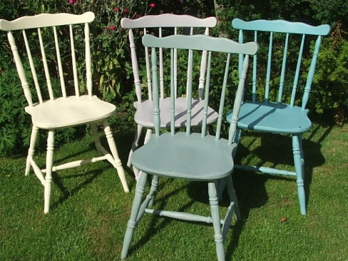 Four Painted Country Style Kitchen Chairs