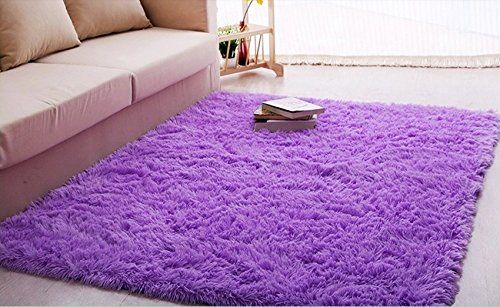 Ultra Soft 4.5 Cm Thick Indoor Morden Area Rugs Pads New Arrival Fashion Color [Bedroom] [Livingroom] [Sitting-room] [Rugs] [Blanket] [Footcloth] for Home Decorate. Size: 4 Feet X 5 Feet (Purple)
