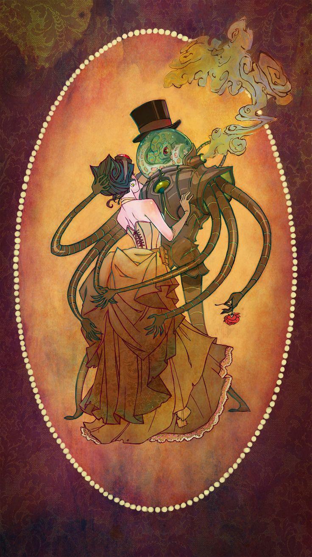 Steam Tale by ~UlaFish  Une autre version de la Belle et la b  Bête. Et suivez ~UlafFish ! C'est chouette ce qu'elle fait ! Un peu vaudou même, mais avec du rose et du violet :-)
