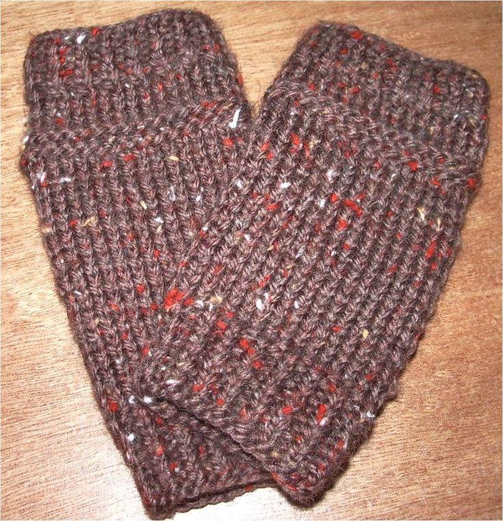mitaines tricot marron