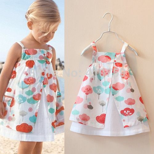 Baby Girls Cotton Casual Dress Fashion Floral Print Summer