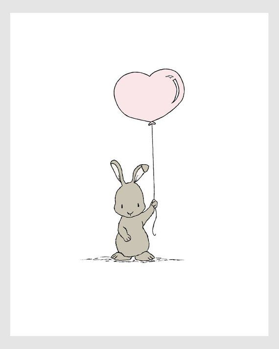 Woodland Nursery Art — Bunny Heart Balloon — Bunny Nursery Art — Children Art — Kids Wall Art