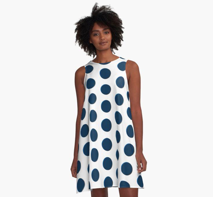 Large polka dot pattern, dark blue discs, circles by cool-shirts