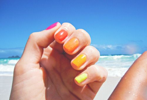 Neon ombre nails (wish we were next to that ocean water too!)