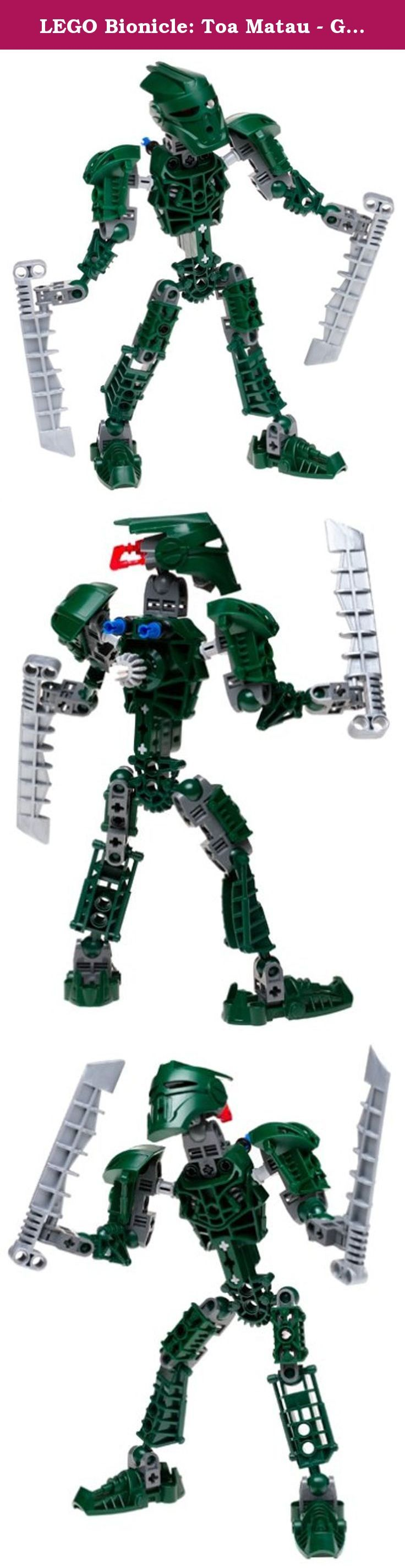 LEGO Bionicle: Toa Matau - Green. Toa Metru of air and guardian of the transport hub of Le-Metru, Matau is known for his instincts and his sense of humor. His Great Mask of Illusion and twin aero slicers make him a hero to be reckoned with. Includes 46 LEGO pieces. Look inside for a special Kanoka card with a BIONICLE Instant Win game! Then, enter the card's Kanoka code on BIONICLE.com to access secret BIONICLE information.