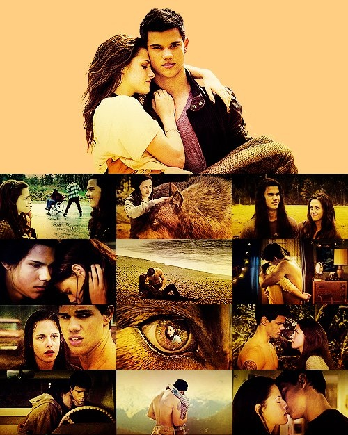 Taylor Lautner e Kristen Stewart.  Jacob Black e Bella Swan.