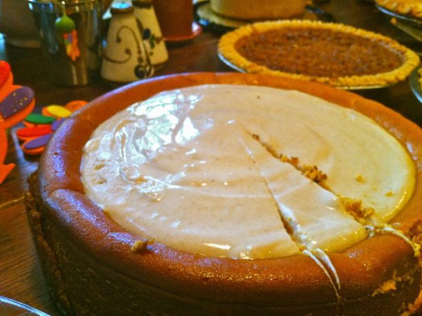 Pumpkin Cheesecake with Marshmallow Sour Cream Topping + Gingersnap ...
