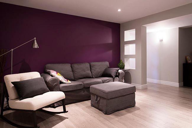 Basement Living Room Wall With Deep Purple Accent Wall Diyhometheater Purple Living Room Living Room Wall Color Plum Living Rooms