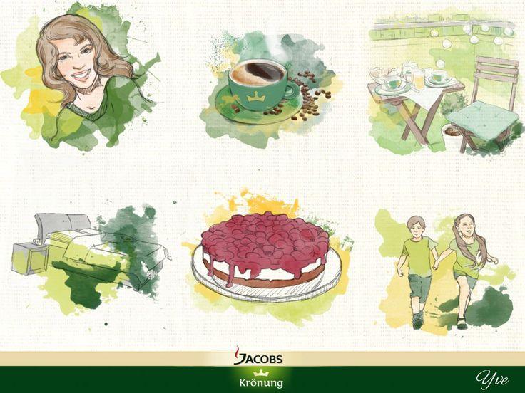Kunstwerk von Yve Am liebsten trinke ich meinen Kaffee mit meinen Schatz, meiner Freundin ,einem Stück Kuchen, meinen Kinder, auf dem Balkon, im Bett